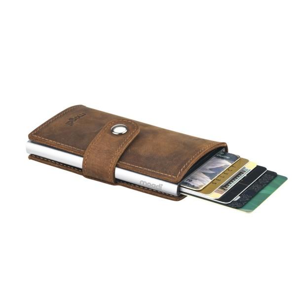 PREMIUM mini Geldbeutel braunes Leder Business Portmonee silber RFID Kartenetui
