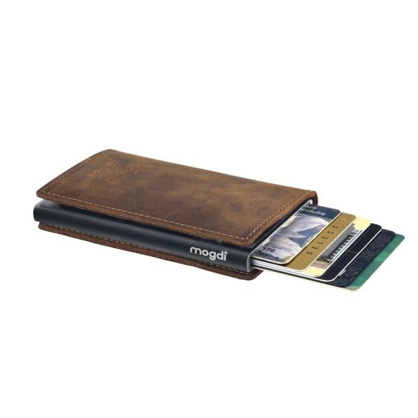 PREMIUM nano Herrenbrieftasche braun Leder Portemonnaie schwarz RFID Blocker