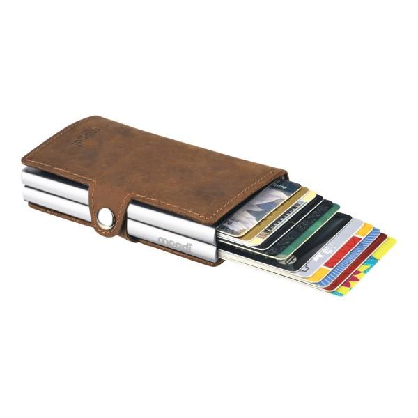 PREMIUM duo Brieftasche braunes Leder Portmonee silber RFID Blocker Kreditkarten