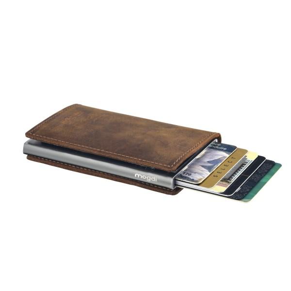 PREMIUM nano Brieftasche braun Herren Portmonee Kartenetui anthrazit RFID Schutz
