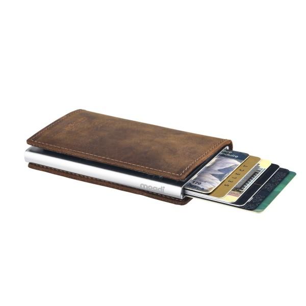 PREMIUM nano Geldbeutel braun Herren Geldbörse Kartenetui silber RFID blocker
