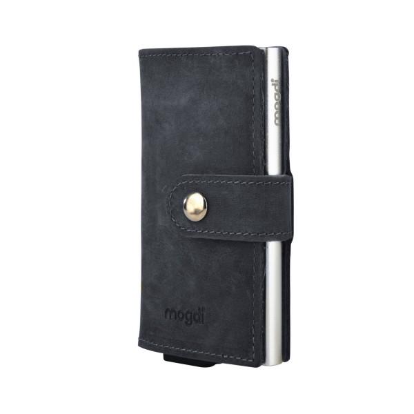 BLACK mini Geldbeutel schwarzes Leder Business Portmonee silber RFID Kartenetui