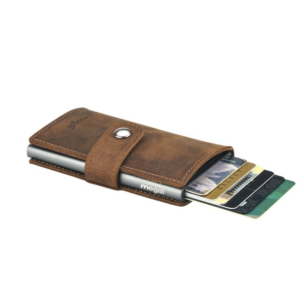 PREMIUM mini Männer Geldbeutel braun Herren Brieftasche anthrazit RFID Blocker