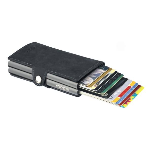 BLACK duo Geldbeutel schwarz Business Wallet Herren Karte anthrazit RFID Blocker