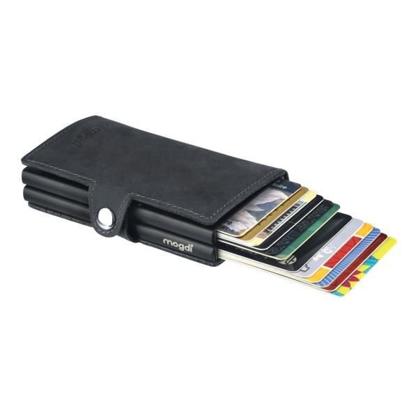 BLACK duo Herren Portemonnaie vintage schwarzes Leder Kartenhalter schwarz RFID