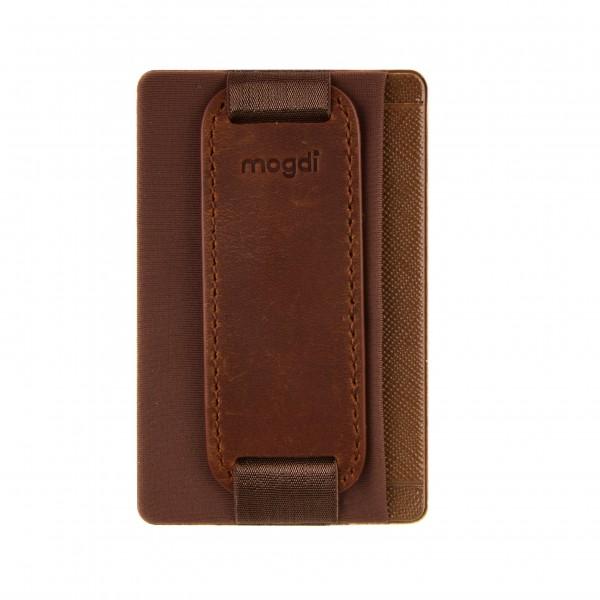 Braun - Premium Leder Handy Kartenhalter Kartenfach RFID Blocker Ständer Halterung Wallet