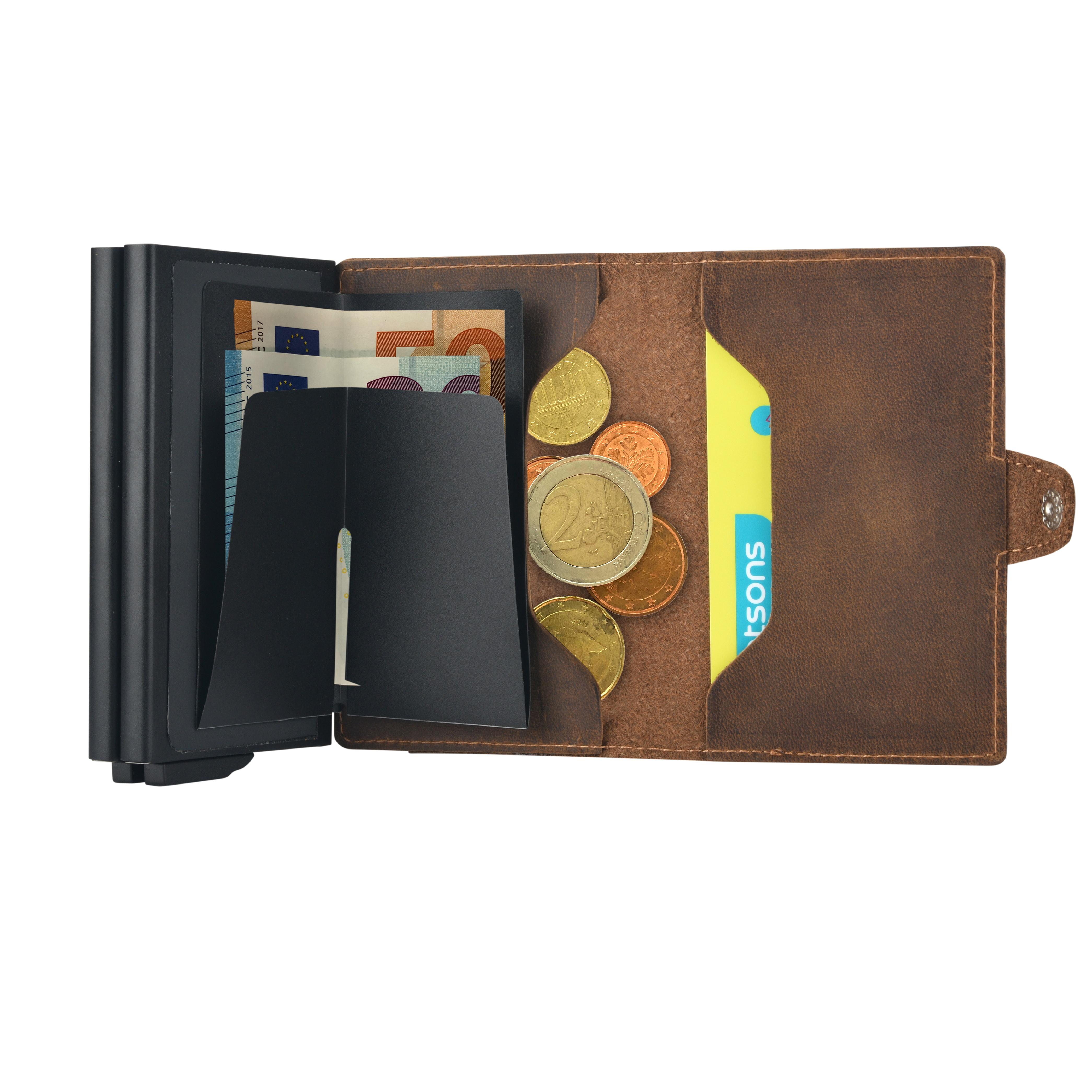 d5a05b2730d7c ... Vorschau  PREMIUM duo Herren Portemonnaie vintage braun Leder  Kartenhalter schwarz RFID ...