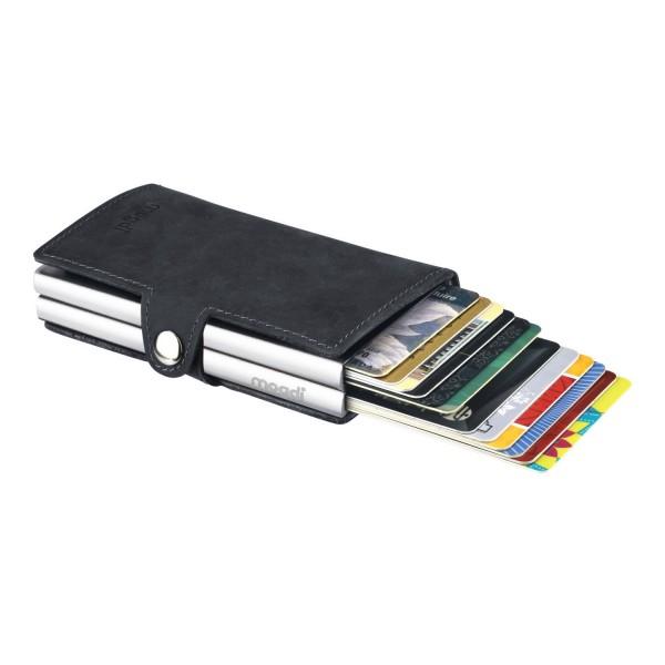 BLACK duo Brieftasche schwarzes Leder Portmonee silber RFID Blocker Kreditkarten