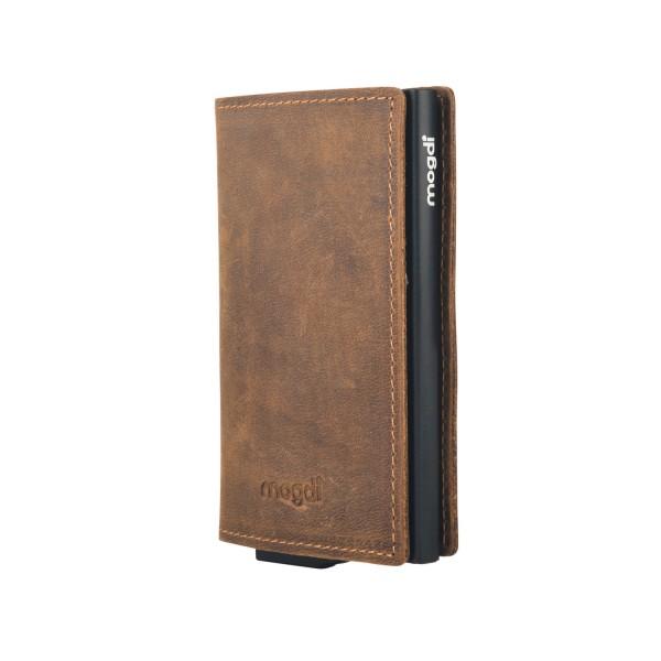 96888d9d2f10f PREMIUM nano Herrenbrieftasche braun Leder Portemonnaie schwarz RFID Blocker