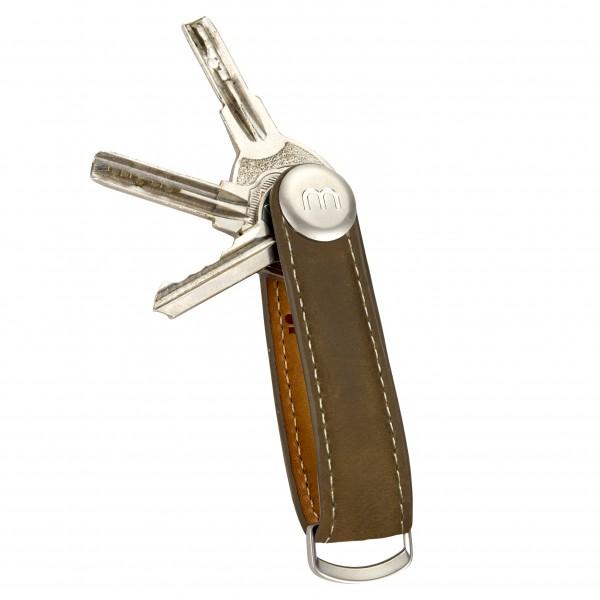 VINTAGE BRAUN Leder Herren Schlüsselhalter Organizer Schlüssel Etui Key Holder