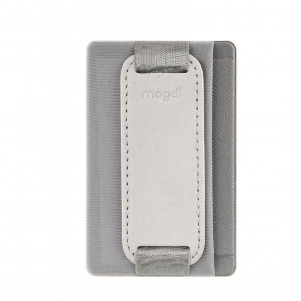 Grau - Handy Damen Leder Kartenetui Handyhülle smart wallet RFID Handyständer Griff Fach