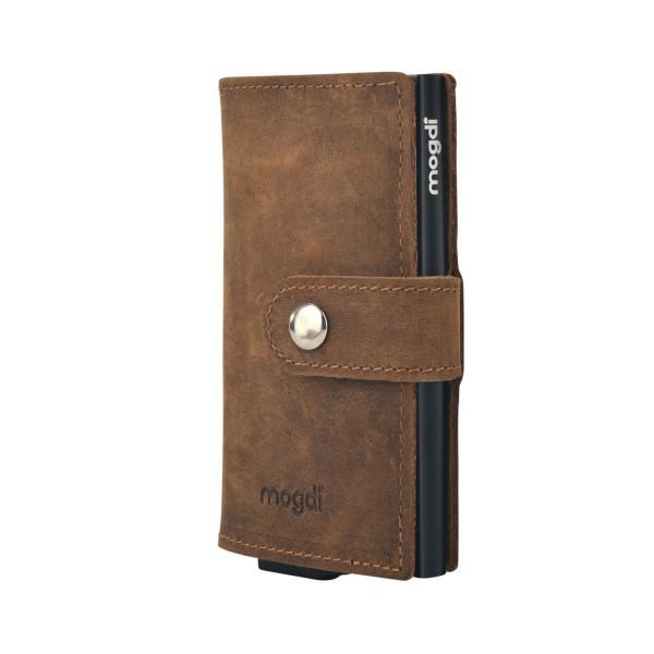 PREMIUM mini Herren Brieftasche vintage braun Leder Portmonee schwarz RFID