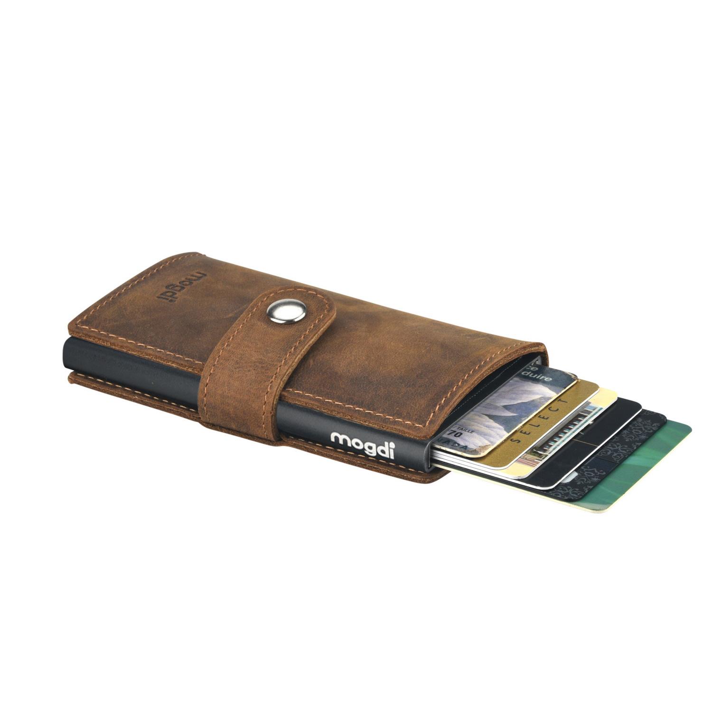aa30e37efebe9 ... Vorschau  PREMIUM mini Herren Brieftasche vintage braun Leder Portmonee  schwarz RFID ...