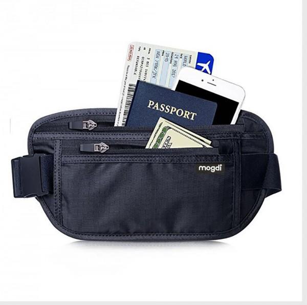 RFID Blocker geschützte Bauchtasche flache Gürteltasche Brieftasche Reise Etui